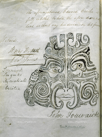HIP-S-000233-0318 - Moko (facial tattoo) of a Maori chief, Otago, New Zealand, 1840. Moko of Tuhawaika, a chief of the Kai Tahu, Otago, used as his signature, in lieu of his handwriting, on a deed of sale of land in the Catlins, January 1840. From the Hocken Library, University of Otago Hocken Library, University of Otago - Werner Forman Archive / Heritage Images /Alinari Archives, Florence