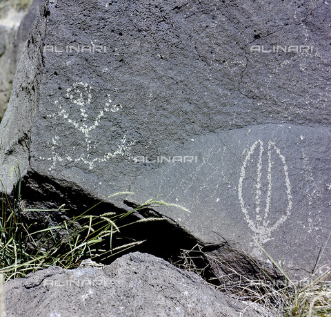 HIP-S-000233-0333 - The Rio Grande petroglyphs, Native American, New Mexico, USA. Many of the images on the basalt rocks are recognisable as animals, people, brands and crosses, while others are more complex and are thought to have had religious significance. They were made by the Pueblo people - Werner Forman Archive / Heritage Images /Alinari Archives, Florence