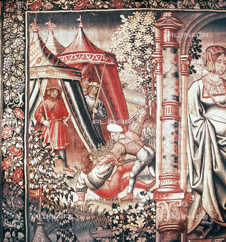 HIP-S-000233-0353 - Bouche d'Or becomes the vassal of Amour', tapestry, Flemish, Brussels, early 16th century. Detail from a tapestry in a series depicting the Roman de la Rose. Based on the homonymous poem it tells of a young man's love for the Rose. From the Hermitage Museum, St Petersburg - Werner Forman Archive / Heritage Images /Alinari Archives, Florence