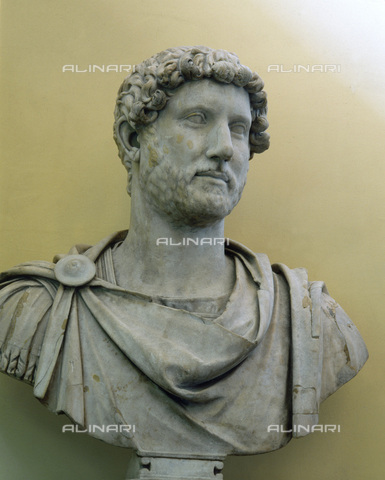HIP-S-000233-0378 - Marble bust of the Roman Emperor Hadrian from his villa near Tibur (Tivoli), Italy, 2nd century. Hadrian ruled from AD 117 to 138. From the British Museum, London - Werner Forman Archive / Heritage Images /Alinari Archives, Florence