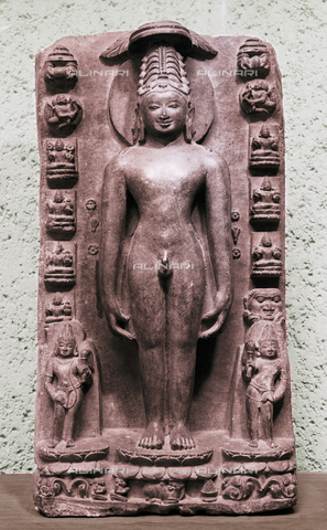 HIP-S-000256-8649 - High relief of Vrisabha, the first of the Jain prophets. Like all Jain prophets he is portrayed naked and can be identified by his symbol, the sitting bull. Country of Origin: India. Culture: Jain, 12th - 13th C. Material/Size: Limestone H46cm. Place of Origin: North East India. Musee Guimet, Paris - Werner Forman Archive / Heritage Images/Archivi Alinari, Firenze