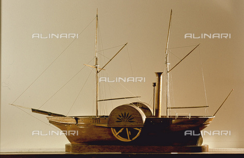 HIP-S-000256-8652 - Model of the first Royal Mail paddle steamer on the Stromness-Scrabster passage. Country of Origin: UK. Place of Origin: Orkney islands. Stromness Museum, Orkney - Werner Forman Archive / Heritage Images/Archivi Alinari, Firenze