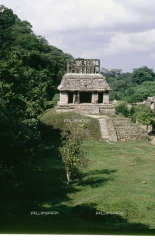 HIP-S-000256-9079 - View of the 'Temple of the Sun'  and its courtyard at Palenque. The temple was in fact a shrine and was built to commemorate the accession to the throne of Chan-Bahlum, son of Pacal.  The shrine was decorated internally with scenes from Maya mythology, such as the setting sun, the jaguar god, warfare and sacrifice. Country of Origin: Mexico. Culture: Classic Maya. Date/Period: 690 AD. Place of Origin: Palenque. - Heritage Images /Alinari Archives, Florence, Werner Forman Archive/ N.J Saunders