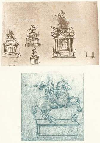 "HIP-S-000262-2491 - Two preparatory studies for the Sforza Monument, c. 1482-c.1499, from ""The Literary Works of Leonardo Da Vinci"" by Jean Paul Richter (London, 1883) - The Print Collector / Heritage Images /Alinari Archives, Florence"