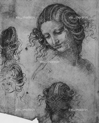 HIP-S-000264-7827 - Studies of female hairstyles, drawing, Leonardo da Vinci (1452-1519). The image is taken from the volume of A. E. Popham (New York 1945) - The Print Collector / Heritage Images /Alinari Archives, Florence