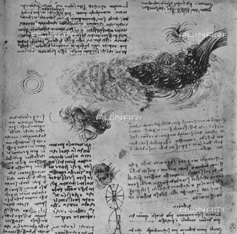 "HIP-S-000264-7891 - Studies of the Formation of Water in Motion, drawing by Leonardo da Vinci (1452-1519), from ""The Drawings of Leonardo da Vinci"" (New York, 1945) - The Print Collector / Heritage Images /Alinari Archives, Florence"