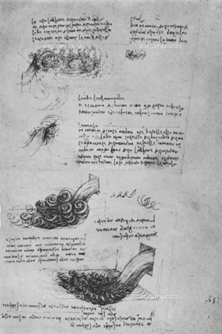 "HIP-S-000264-7892 - Studies of the Formation of Water, drawing by Leonardo da Vinci (1452-1519), from ""The Drawings of Leonardo da Vinci"" (New York, 1945) - The Print Collector / Heritage Images /Alinari Archives, Florence"