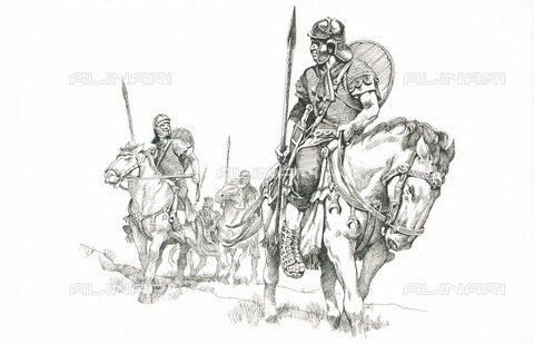 HIP-S-000266-7835 - Roman soldiers on patrol near Hadrian's Wall, c1985-c2000. Reconstruction line drawing of Roman soldiers mounted on horseback. Location based on Grindon Milecastle - Data dello scatto: 1985-2000 - Historic England Archive / Heritage Images /Alinari Archives, Florence
