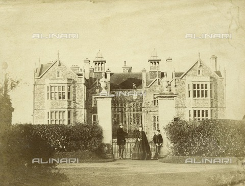 HIP-S-000266-7839 - Bradfield House, Uffculme, Devon, 1852. Dilute albumen print from a paper negative. One of a remarkable series of photographs taken before and after the architect John Hayward extensively remodelled and restored the property for Sir John Walrond between 1852 and 1854. The house had been the seat of the Walrond family since the 13th century, and incorporated a medieval hall at its core. It is unclear whether the architect or the owner, or both, were responsible for recording building work, which included moving the main entrance to the south front, stripping roughcast and adding a service wing to the west - Historic England Archive / Heritage Images /Alinari Archives, Florence