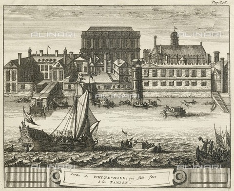HIP-S-000266-7844 - Whitehall, Westminster, London, 1707. Whitehall Palace was the main royal residence in London between 1530 and 1698. The French text reads 'Part of Whitehall which faces the (River) Thames'. From the Mayson Beeton Collection - Historic England Archive / Heritage Images /Alinari Archives, Florence