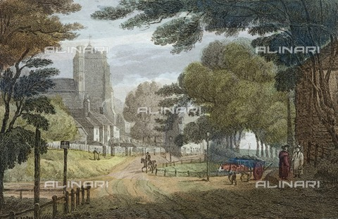 HIP-S-000266-7847 - Entrance to Hastings, East Sussex, from Old London Road, showing All Saints' Church, c1790. Published by E Nye, Tunbridge Wells. From the Mayson Beeton Collection - Historic England Archive / Heritage Images /Alinari Archives, Florence