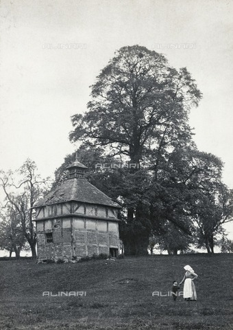 HIP-S-000266-7849 - Dovecote, Oddingley, Worcestershire, 1894. Platinum print. Percy Deakin was a keen recorder of historic buildings and made meticulous notes, writing on the reverse of his mounts the photographic technique he had used and the date the photograph was taken. The Oddingley dovecote, built around 1600, had become dilapidated by 1930 and was later demolished. Deakin's view therefore has an added significance, but the photograph attracts us as much for the figures of the woman and child in the foreground as for the historic dovecote in its picturesque setting - Historic England Archive / Heritage Images /Alinari Archives, Florence