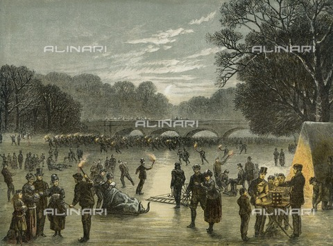 HIP-S-000266-7852 - Skating on the Serpentine in Hyde Park, London, c1850. From the Mayson Beeton Collection - Historic England Archive / Heritage Images /Alinari Archives, Florence