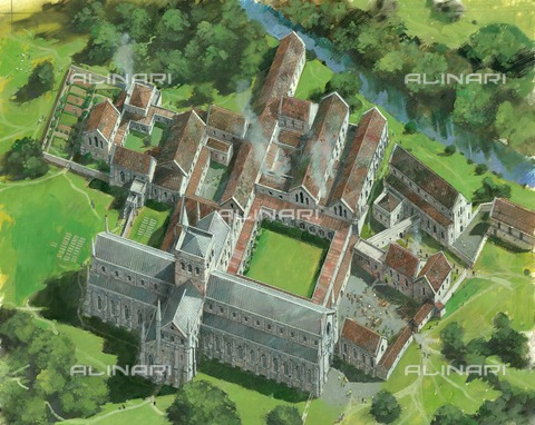 HIP-S-000266-7862 - Waverley Abbey, Farnham, Surrey, c1990-c2005. Aerial reconstruction drawing of the medieval Cistercian abbey - Data dello scatto: 1990-2005 - Historic England Archive / Heritage Images /Alinari Archives, Florence