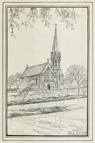 HIP-S-000266-7883 - St Robert's Church, Morpeth, Northumberland, 1934. Sketch showing the exterior from the north-west - Data dello scatto: 1934 - Historic England Archive / Heritage Images /Alinari Archives, Florence