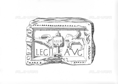 HIP-S-000266-7892 - Roman legionary emblem, c1985-c1989. Illustration depicting a carved plaque found at Benwell Roman Fort on Hadrian's Wall, showing the emblem of the Second Legion Augusta - a vexillum (flag-like military standard) flanked to left by Capricorn and to right by a Pegasus - Data dello scatto: 1985-1989 - Historic England Archive / Heritage Images /Alinari Archives, Florence