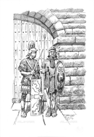 HIP-S-000266-7893 - Roman soldiers on sentry duty on Hadrian's Wall, c1985-c2000. Reconstruction line drawing of two soldiers in front of a typical gateway on Hadrian's Wall. Location based on Grindon Milecastle - Historic England Archive / Heritage Images /Alinari Archives, Florence