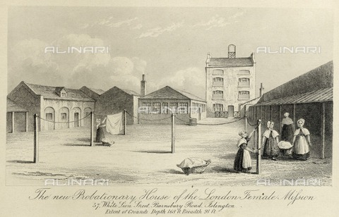 HIP-S-000266-7897 - Probationary House of the London Female Mission, 57 White Lion Street, Islington, London, c1836. View showing women hanging washing on the line in the courtyard at the rear. From the Mayson Beeton Collection - Historic England Archive / Heritage Images /Alinari Archives, Florence