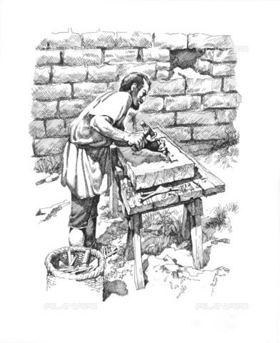HIP-S-000266-7899 - Roman stonemason inscribing a tablet, Hadrian's Wall, 2nd century (c1985-2000). Reconstruction line drawing of a stonemason at work, creating an inscribed tablet. Based on tjhe tablet set into the wall of Coesike Turret, Northumberland - Historic England Archive / Heritage Images /Alinari Archives, Florence