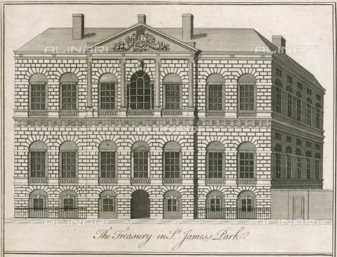 HIP-S-000266-7900 - The Treasury in St James's Park, Westminster, London, 1750. Designed by William Kent, the Treasury building was built in 1733-1736. From the Mayson Beeton Collection - Historic England Archive / Heritage Images /Alinari Archives, Florence