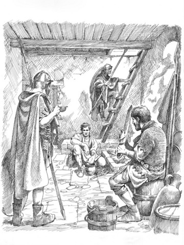 HIP-S-000266-7901 - Life inside a turret on Hadrian's Wall, 2nd or 3rd century (c1985-c2000). Reconstruction line drawing showing Roman soldiers off-duty at a turret. Based on one of the chambers in Brunton Turret, Northumberland, - Historic England Archive / Heritage Images /Alinari Archives, Florence