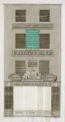HIP-S-000266-7918 - Advertisement for Urling's Lace, London, 1820. Elevation of 392 Strand, London, premises of GF Urling and Company, announcing a forthcoming change of address and featuring samples of real lace and cotton thread decorating the shop-front window. The engraving indicates that the business formerly operated out of premises at 143 Cheapside. A label on the engraving gives details of the new more extensive premises over the way, 147, Strand, Somerset House. From the Mayson Beeton Collection - Historic England Archive / Heritage Images /Alinari Archives, Florence