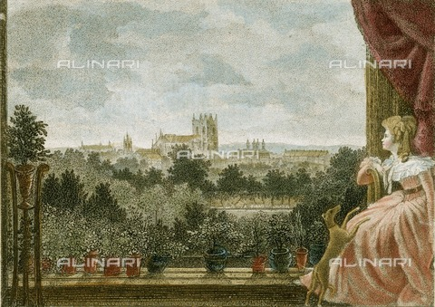 HIP-S-000266-7926 - View from Mrs Cosway's breakfast room at Schomberg House, 80-82 Pall Mall, London, 1789. View looking towards Westminster Abbey, with Mrs Cosway seated in the foreground. Richard Cosway (1742-1821) was a leading portrait painter, his wife Maria Cosway (1760-1838) was also an accomplished artist who exhibited at the Royal Academy of Arts. A note beneath the engraving records that the landscape was painted by William Hodges, RA, and the portrait was painted by Rd Cosway. The whole was engraved by W Birch, 1789. From the Mayson Beeton Collection - Historic England Archive / Heritage Images /Alinari Archives, Florence