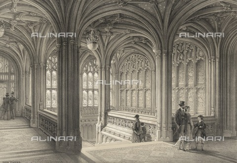 HIP-S-000266-7928 - The Peers' Staircase, House of Lords, Palace of Westminster, London, 1860. From the Mayson Beeton Collection - Historic England Archive / Heritage Images /Alinari Archives, Florence