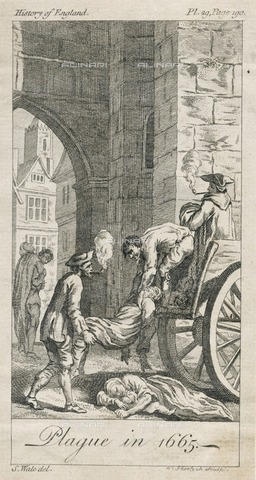 HIP-S-000266-7937 - Plague in 1665', c18th century. View showing plague victims being loaded onto a 'dead cart' on Holywell Lane, Shoreditch, London, for burial. Illustration for Montague's History of England. From the Mayson Beeton Collection - Historic England Archive / Heritage Images /Alinari Archives, Florence