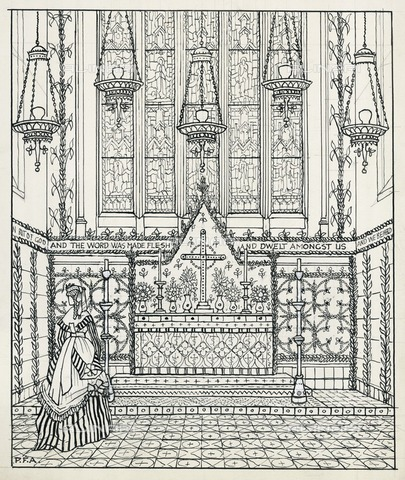 HIP-S-000266-7942 - St Matthias Church, Wordsworth Road, Stoke Newington, Hackney, London, 1930. Sketch impression of Christmas decorations and temporary reredos around 1870, with a woman in period costume - Data dello scatto: 1930 - Historic England Archive / Heritage Images /Alinari Archives, Florence