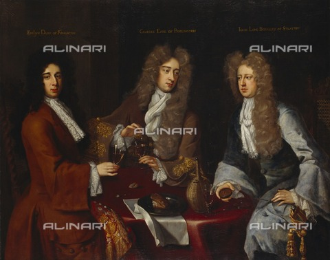 HIP-S-000267-2733 - Triple portrait of the 2nd Earl of Burlington (1660-1704), the 1st Duke of Kingston-upon-Hull (1655-1726), and the 3rd Baron Berkeley of Stratton (1663-1697), 1690s. Painting from Chiswick House, London - Historic England Archive / Heritage Images /Alinari Archives, Florence