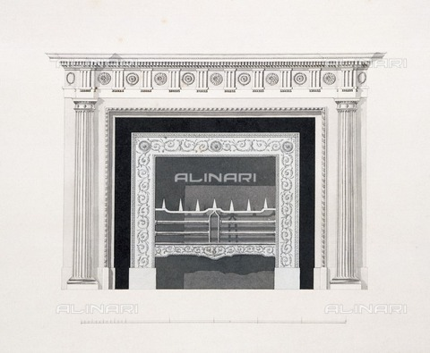 HIP-S-000267-2739 - Fireplace in the library, Audley End House, Saffron Walden, Essex, late 18th century. Scrapbook architectural design detail - Historic England Archive / Heritage Images /Alinari Archives, Florence