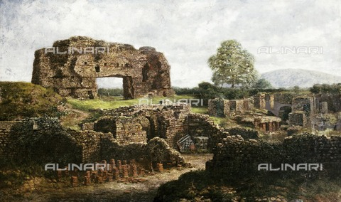 HIP-S-000267-2741 - Painting of Unknown Monument', late 20th or early 21st century. Possibly depicting Wroxeter Roman city, Shropshire - Historic England Archive / Heritage Images /Alinari Archives, Florence