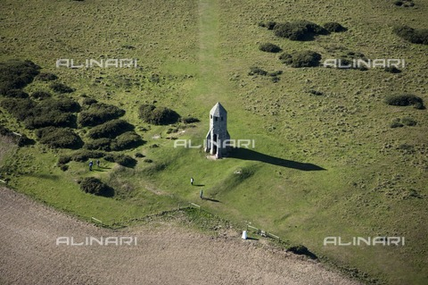 HIP-S-000267-2744 - St Catherine's Oratory, Isle of Wight, 2010. Aerial view showing earthworks. St Catherine's Oratory is a medieval lighthouse on the southern coast of the Isle of Wight built by Walter de Godeton, Lord of Chale - Data dello scatto: 2010 - Historic England Archive / Heritage Images /Alinari Archives, Florence