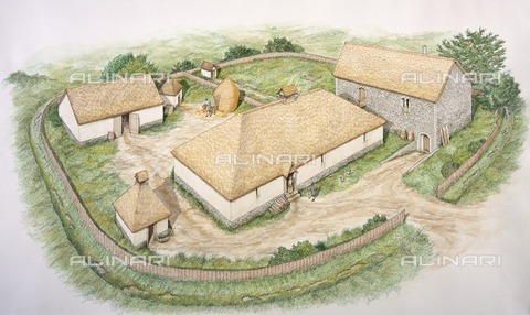HIP-S-000267-2747 - South Manor, Wharram Percy medieval village, North Yorkshire, 13th century (c2000s). Reconstruction drawing - Historic England Archive / Heritage Images /Alinari Archives, Florence