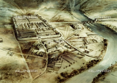 HIP-S-000267-2750 - Chester's Roman Fort, Hadrian's Wall, Northumberland, 20th century. Reconstruction drawing showing an aerial view of the fort - Historic England Archive / Heritage Images /Alinari Archives, Florence