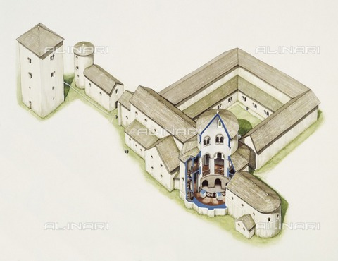 HIP-S-000267-2757 - Late Saxon church, St Augustine's Abbey, Canterbury, Kent, late 20th or early 21st century. Reconstruction drawing - Historic England Archive / Heritage Images /Alinari Archives, Florence