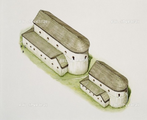 HIP-S-000267-2766 - First Saxon church, St Augustine's Abbey, Canterbury, Kent, late 20th or early 21st century. Reconstruction drawing - Historic England Archive / Heritage Images /Alinari Archives, Florence