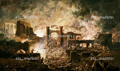 HIP-S-000267-2770 - Roman Battle Scene', 19th century. Painting in Kenilworth Castle, Warwickshire, previously held at Wroxeter Roman City - Historic England Archive / Heritage Images /Alinari Archives, Florence