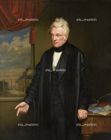 HIP-S-000267-2771 - Portrait of John Clayton, English lawyer and archaeologist, 1863. Painting from Chester's Roman Fort, Hadrian's Wall, Northumberland. Clayton (c1792-1890) was responsible for saving large sections of Hadrian's Wall in the 19th century - Historic England Archive / Heritage Images /Alinari Archives, Florence