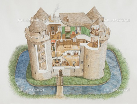 HIP-S-000267-2772 - Nunney Castle, Somerset, 2006. Aerial view cutaway reconstruction drawing showing the great tower as it might have appeared in the 1580s - Data dello scatto: 2006 - Historic England Archive / Heritage Images /Alinari Archives, Florence
