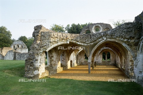 HIP-S-000267-2774 - Waverley Abbey, Surrey, late 20th or early 21st century. View of the abbey buildings, looking south. Waverley Abbey was the first Cistercian abbey in England, founded in 1128 - Historic England Archive / Heritage Images /Alinari Archives, Florence