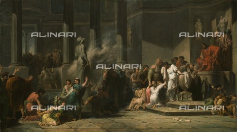 HIP-S-000267-2787 - Athenian Girls Drawing Lots to Determine Which Seven Among Them Shall be Sent to Crete for Sacrifice to the Minotaur', 18th century. Painting in Apsley House, London - Historic England Archive / Heritage Images /Alinari Archives, Florence