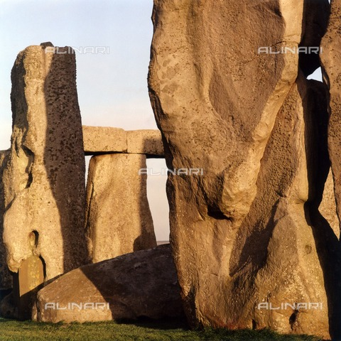 HIP-S-000267-2823 - Detailed view of the stones showing the circle of Sarsens in the background, Stonehenge, Wiltshire - Historic England Archive / Heritage Images /Alinari Archives, Florence