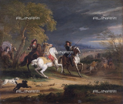 HIP-S-000267-7965 - French Generals Arriving before a Town', 1678. Painting in Apsley House, London, painted for King Louis XIV of France - Heritage Images/Archivi Alinari, Firenze, Historic England Archive