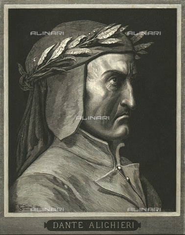 HIP-S-000270-9292 - Portrait of Dante Alighieri, engraving by Gustave Doré, published by Cassell, Petter and Galpin, c.1890 - The Print Collector / Heritage Images /Alinari Archives, Florence