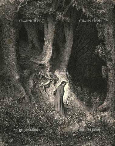 """HIP-S-000270-9293 - """"'In the midway of this our mortal life"""": Dante in the dark forest, Divine Comedy, Inferno - canto I v.1 Engraving by Gustave Doré, published by Cassell, Petter and Galpin, c.1890 - The Print Collector / Heritage Images /Alinari Archives, Florence"""
