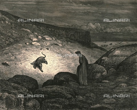 """HIP-S-000270-9294 - """" Scarce the ascent began, when, lo a panther, nimble, light. And cover'd with a speckled skin, appear'd'"""": Dante meets the panther (lonza), Divine Comedy, Inferno - canto I vv.31-32. Engraving by Gustave Doré, published by Cassell, Petter and Galpin, c.1890 - The Print Collector / Heritage Images /Alinari Archives, Florence"""