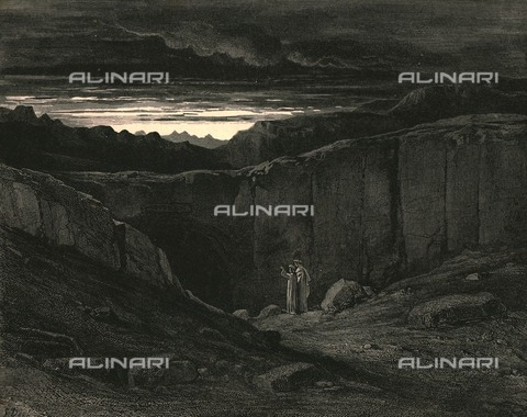 """HIP-S-000270-9300 - """"'All hope abandon, ye who enter here"""": Virgil and Dante in Limbo, Divine Comedy, Inferno - canto III, v. 9. Engraving by Gustave Doré, published by Cassell, Petter and Galpin, c.1890. - The Print Collector / Heritage Images /Alinari Archives, Florence"""