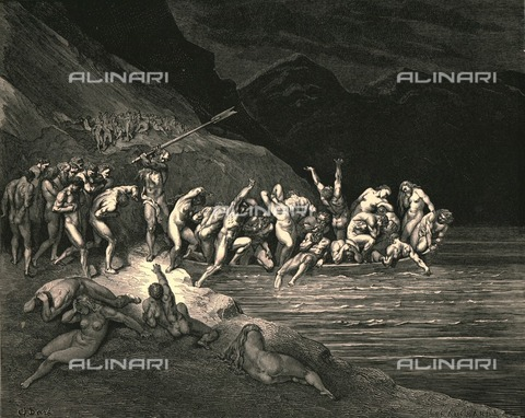 """HIP-S-000270-9302 - """"E'en in like manner Adam's evil brood, cast themselves one by one down from the shore"""":Charon pushes the souls of the damned into Acheron, Divine Comedy, Hell - canto III vv. 115-116. Engraving by Gustave Doré, published by Cassell, Petter and Galpin, c.1890. - The Print Collector / Heritage Images /Alinari Archives, Florence"""